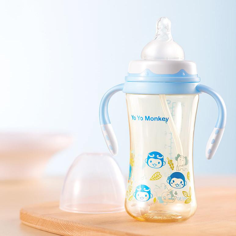 优优马骝PPSU奶瓶大宝宝新生婴儿宽口径耐摔防胀气硅胶奶嘴吸管