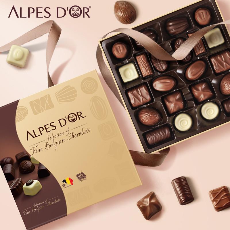 爱普诗比利时进口牛奶夹心巧克力礼盒装送女友零食情人节七夕礼物