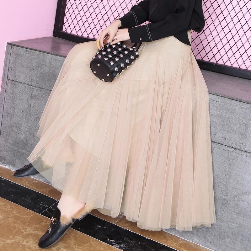 网纱半身裙女夏2020新款长裙 百褶高腰a字显瘦中长款超仙网纱裙子